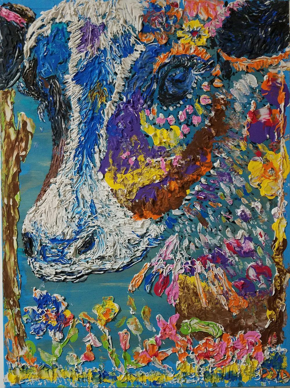 """HOLLY COW   Oil Acrylic on wood 18x24"""", framed"""