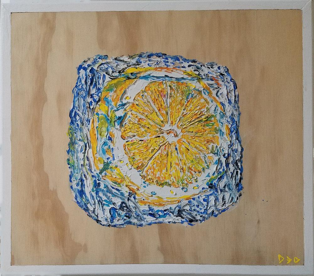 """LIME & ICE   Oil & Acrylic on wood 17 1/16 x 19 1/2"""", framed"""