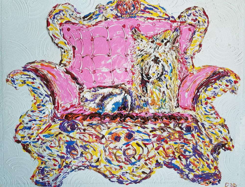 """DIVA   Oil Acrylic on canvas 20x20"""", framed"""