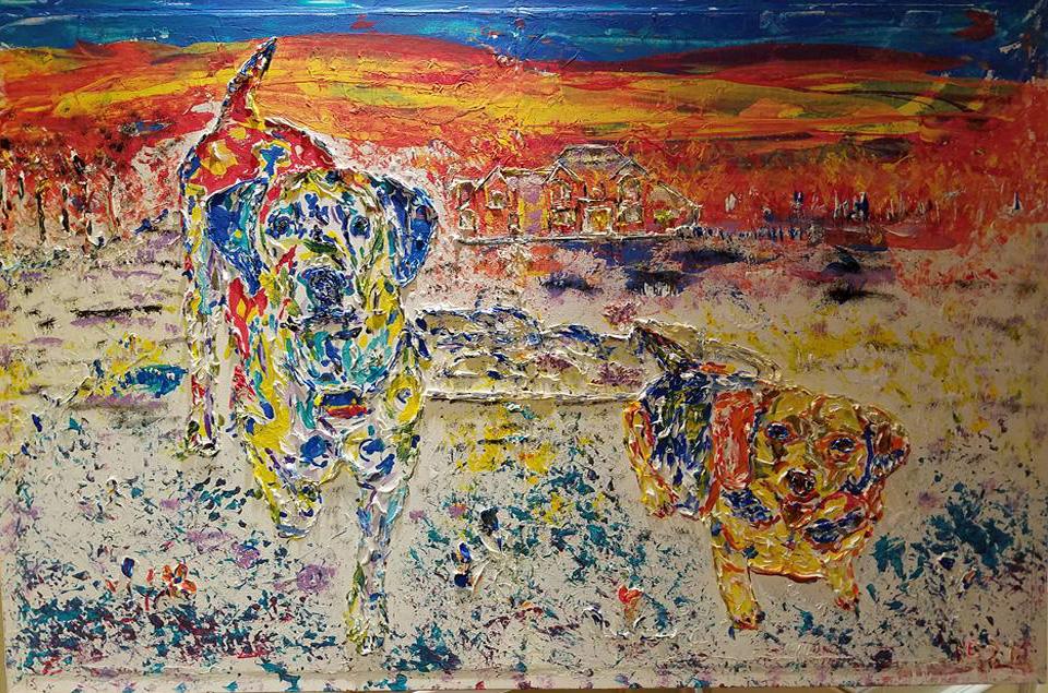 "BEST FRIENDS   Oil Acrylic on canvas 24x36"", framed"
