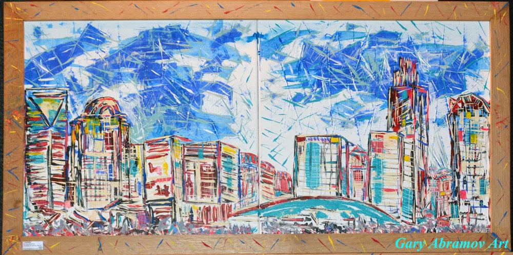 "CHARLOTTE   Oil Acrylic on canvas 24x36"". Frame oak"