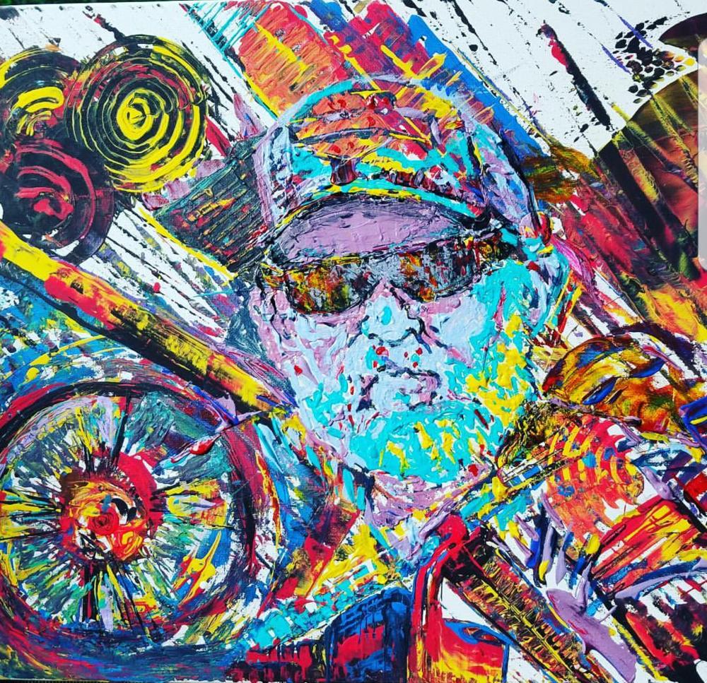 """HARLEY MAN  Oil Acrylic on canvas 18x48"""", framed"""