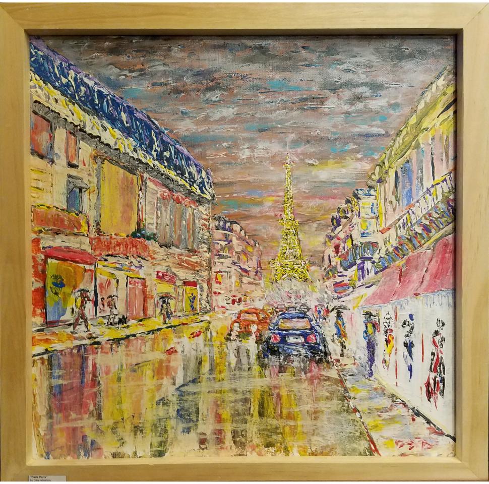 """PARIS PARIS   Oil Acrylic on canvas 20x20"""". Frame oak"""