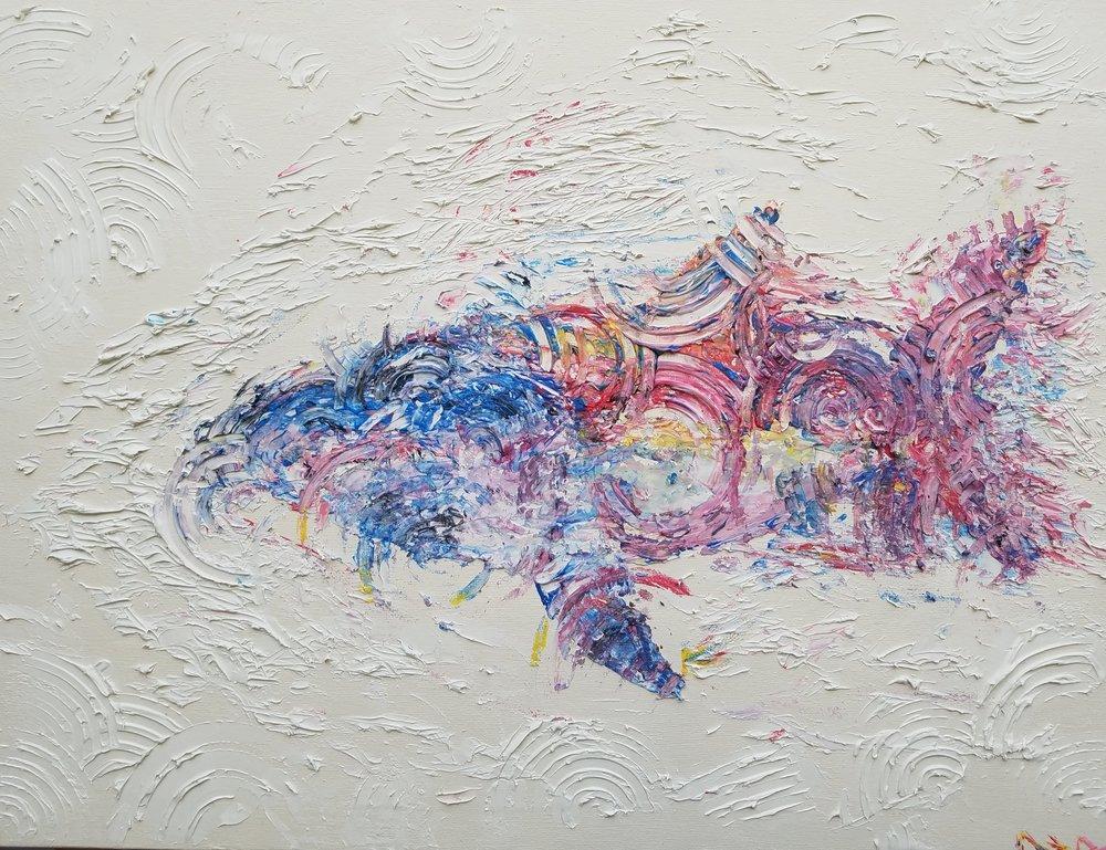 """FANTOM  Oil Acrylic on canvas 18x24"""""""