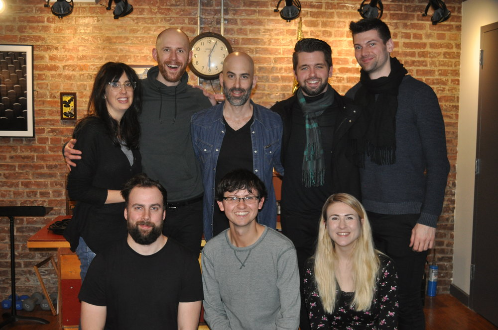 Project 1 Collaborators    Bottom Row (left to right): Taylor Roig (Sound Specialist), Scotty Phillips (Tenor Saxophone), Mia Hartley (Founder and Co-Artistic Director)   Top Row (left to right): Lisa Reynolds (Interpreter), Bryan McNamara (Baritone Saxophone), Douglas Ridloff (Visual Poet), Cole Belt (Bass Saxophone), and Thomas Giles (Baritone Saxophone).