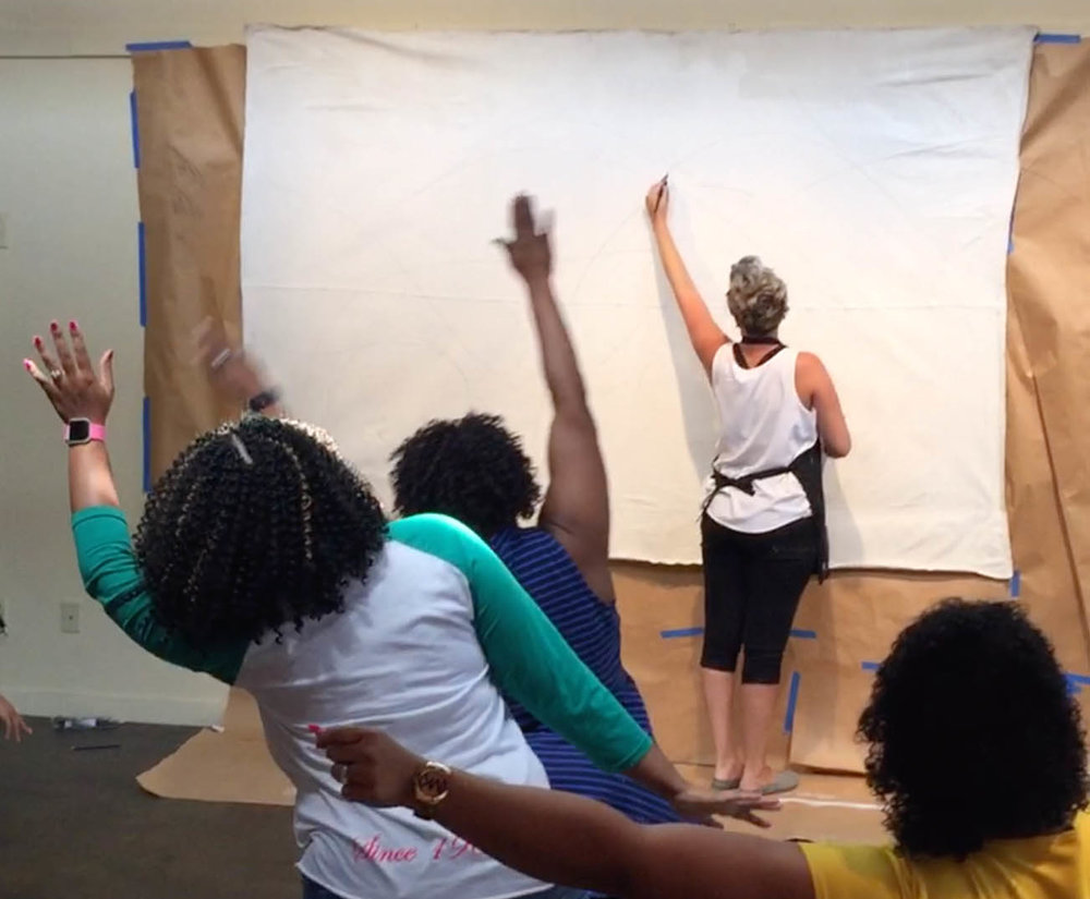 "Artist,  Kellie Newsome , leads an ""Art Making in Action"" session connecting gestures in Dance with Visual Art. (2016)"