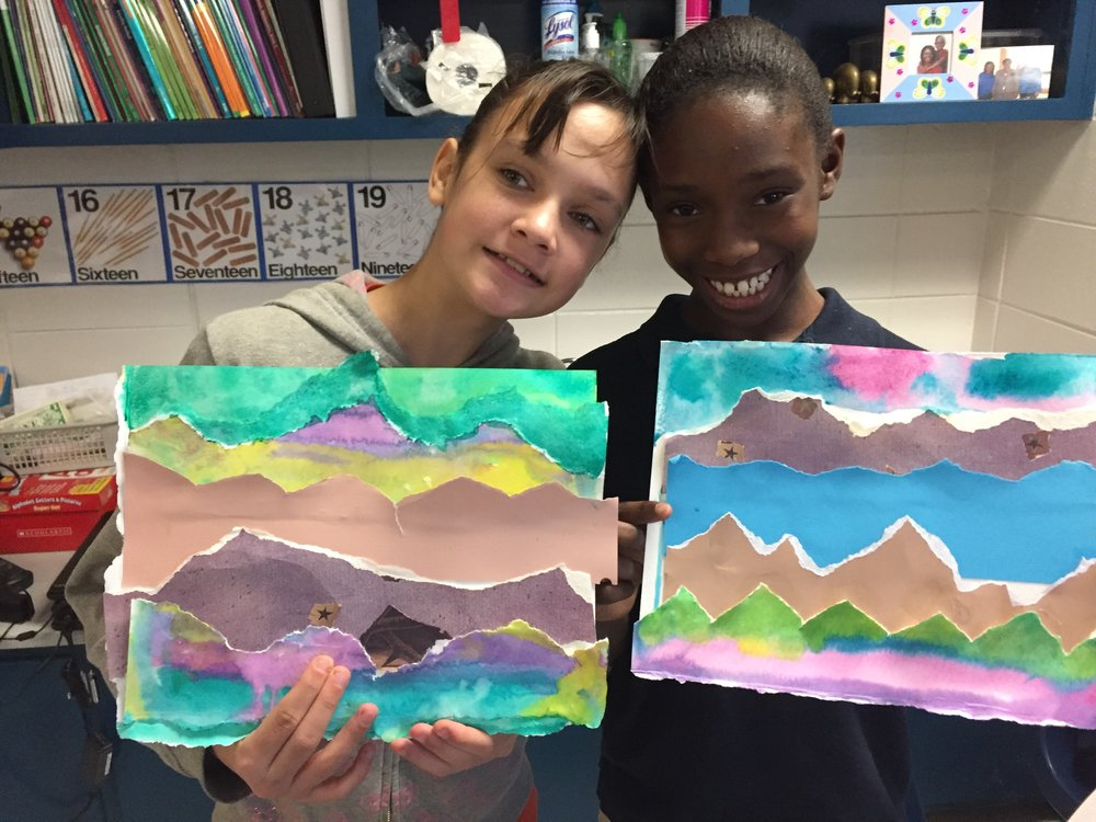These students are proud of their rhythmic imaginary landscapes made with watercolor and torn paper. (2017)
