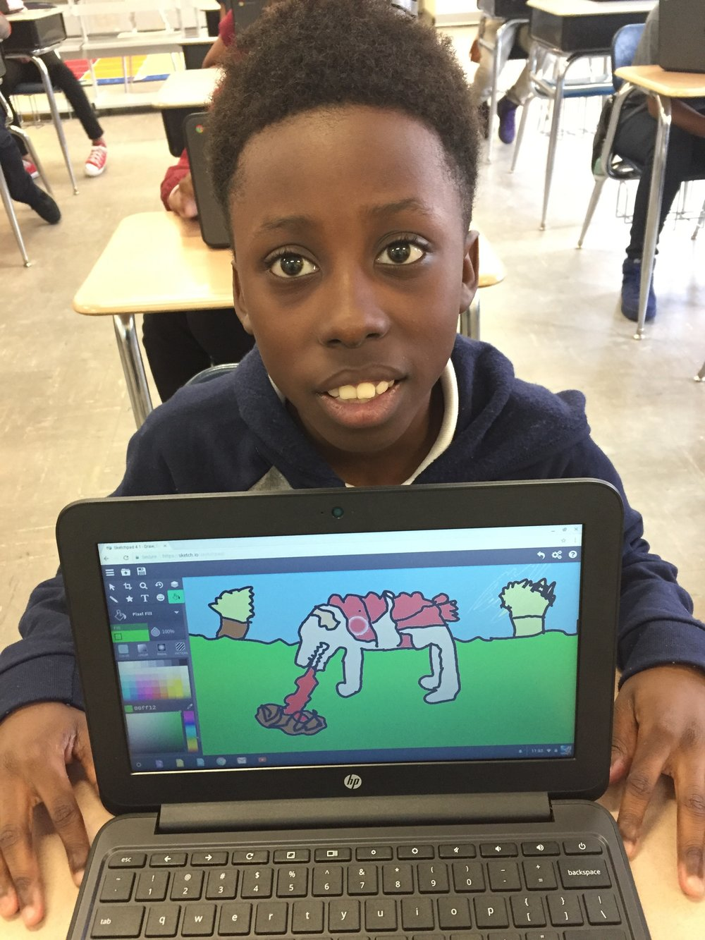 ChromeBooks  in action. Just imagine the  story  that goes with this art created by a talented fifth-grader in Selma! (2017)