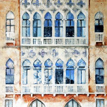 Nancy Mims Hartsfield  Windows in Moorish Style , Mixed Media