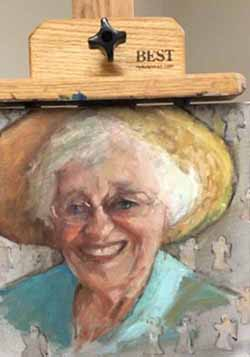 Portrait of Alabama writer, Kathryn Tucker Windham, by guest teaching artist, Barbara Davis.