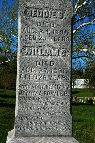 Quite a local mystery here. What happened to the Fowler brothers within a period of only three days? The epitaph seems to imply a deep religious belief on the part of the family.