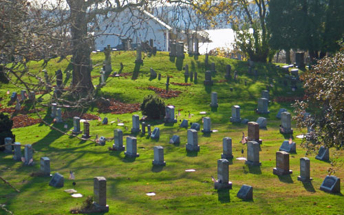 The earliest graves at Bethel were marked with local fieldstones or with wood markers. None has survived so it is impossible to know how many there may have been. Grave markers that followed were made from slate, sandstone, marble, granite, limestone, schist, soapstone, and any other stone that was available. Until transportation by rail became an option, most communities used whatever stone was brought by wagon from the nearest quarry, although villages like Croton, on the banks of the navigable Hudson River, were able to get stone from farther away.