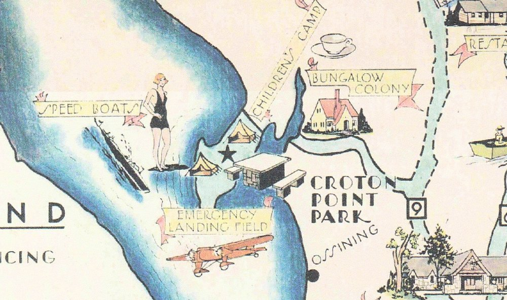 This detail from a 1935 Westchester parks map, shows the attractions at Croton Point Park, which included a landing area for seaplanes.