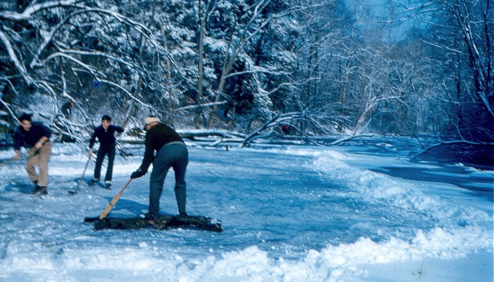 Year-round recreation! An impromptu hockey game on a frozen Silver Lake in 1949.