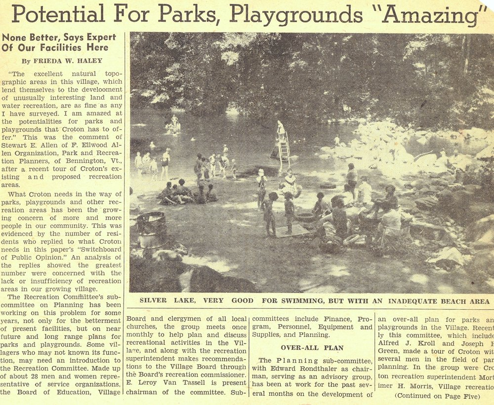 This 1953 article shows Silver Lake when it was located above the rock jetty (seen on the right).