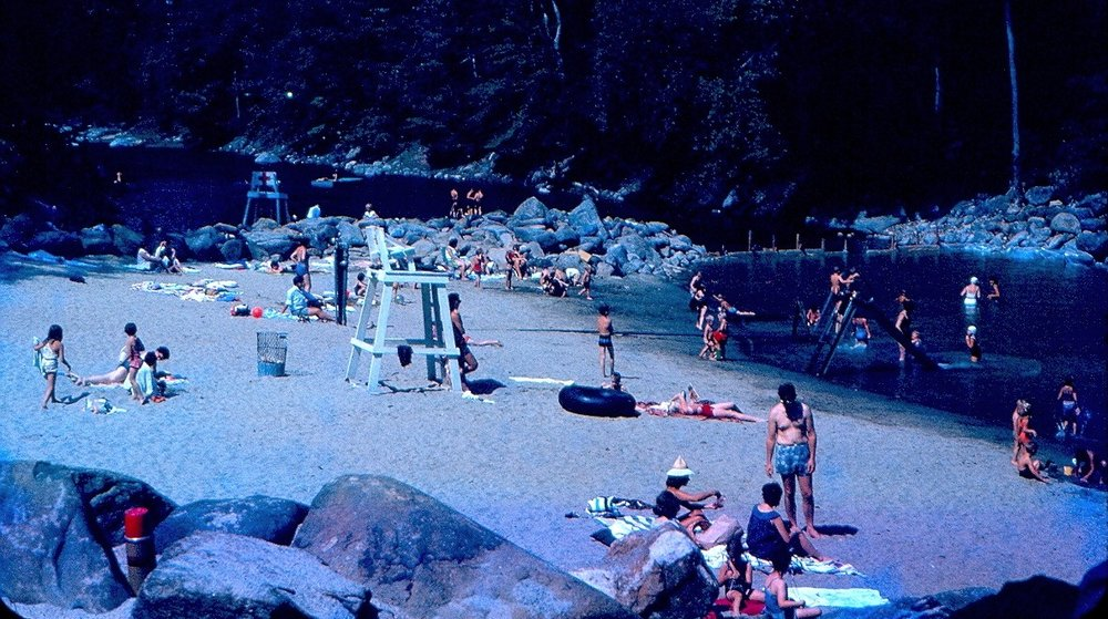 Silver Lake in the early 1960s. The wide beach area was caused by the low water conditions that often plagued the river in the 1950s and 60s. (For comparison, scroll back to the photo at the top of the page, showing roughly the same area in 2010.)