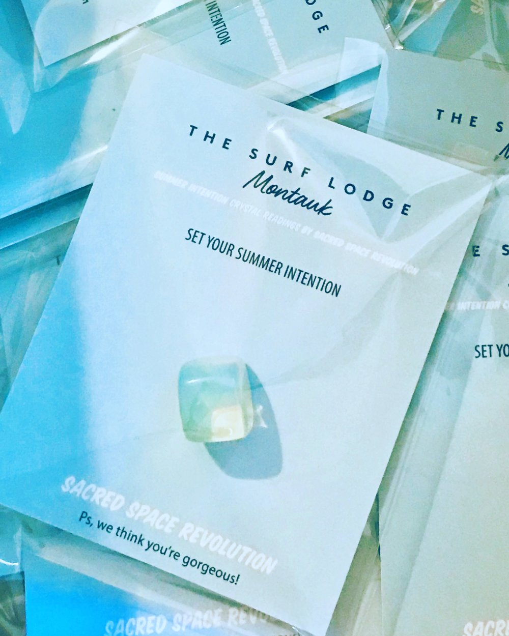 Custom Crystals   We've worked with Brands like Surflodge , Almay, and Bandier to create a special experience for their customers. Offering their guest a gift of intention setting and positive affirmations is meaningful and memorable. It also creates a positive shift for everyone.