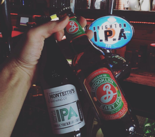 A trio of IPA! Brighton IPA 5.5%, Monteith's IPA 5.5% & Brooklyn East IPA 6.9%. Tasty!
