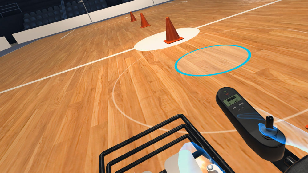 Powerchair athletes can practice in a virtual gymnasium