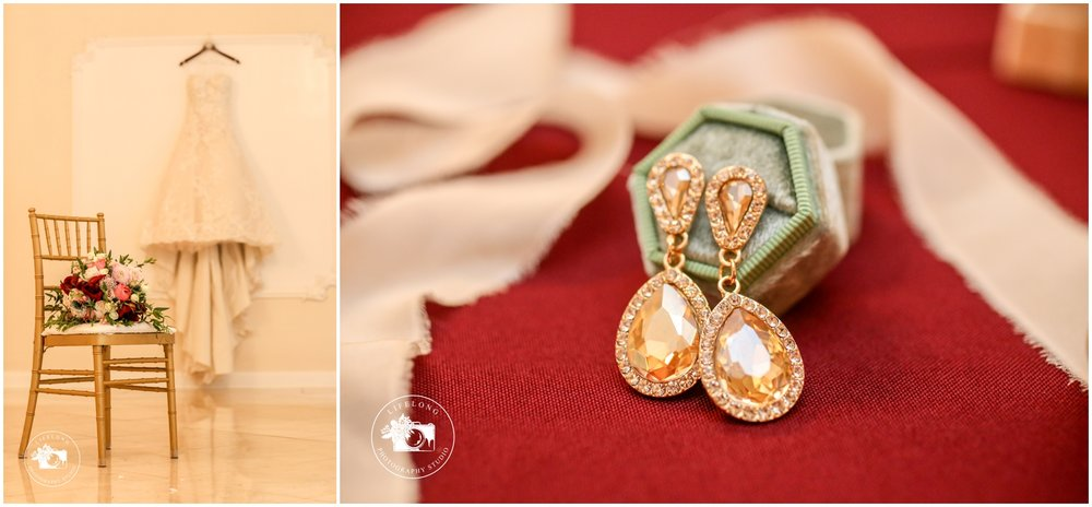 wedding gown and wedding accessories