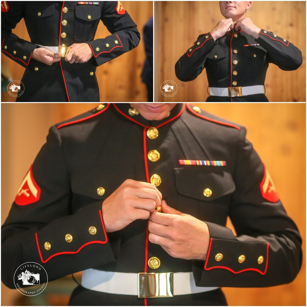 groom getting ready for his military wedding