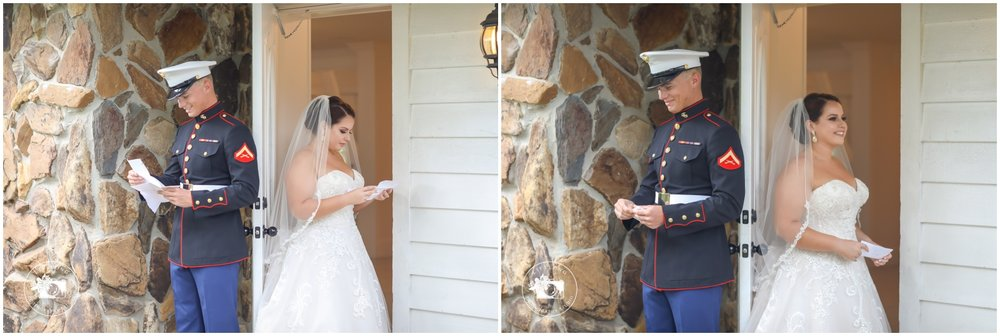 bride and groom reading their letters before the wedding