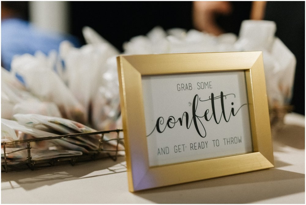 Confetti table display for grand exit