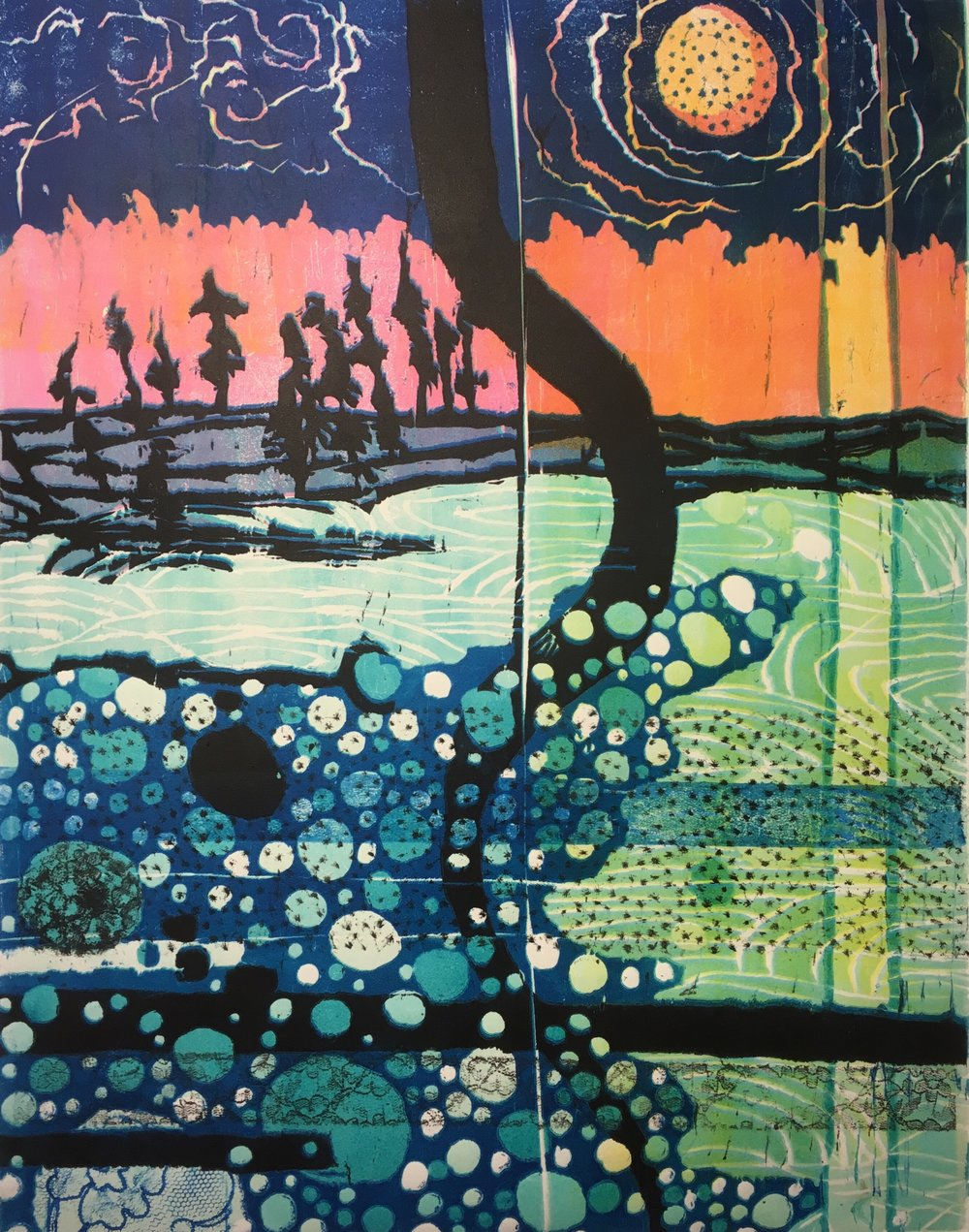 BeckyHeimann-Running the River, woodblock print, 2017 .jpg