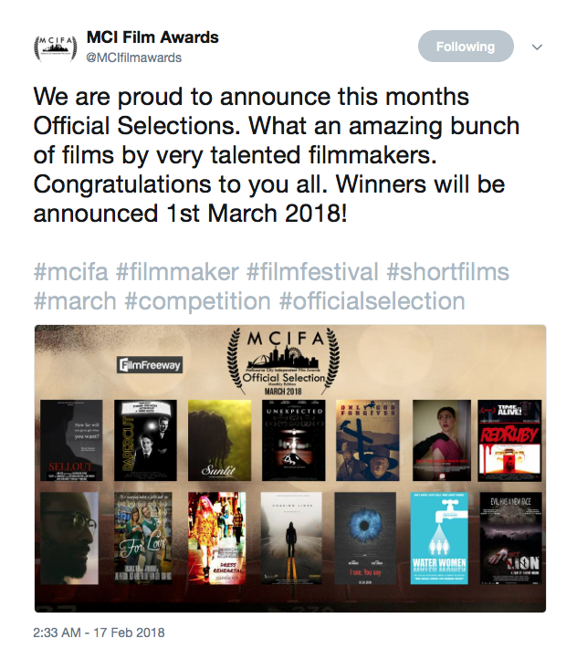 MCI Film Awards makes Sunlit and official selection for the Month of March.