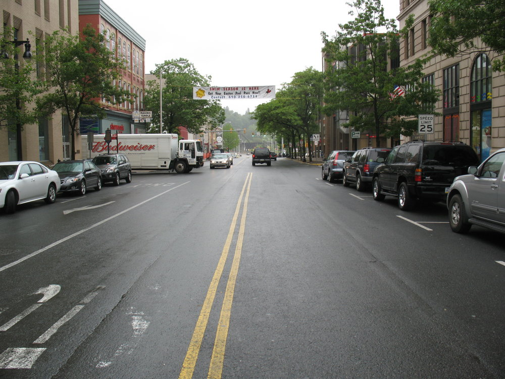 Shot of Third Street in Easton, the main section of the Easton Streetscape project area