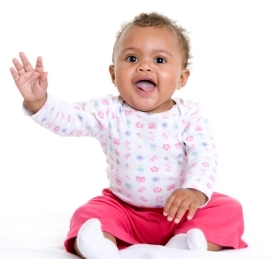 Baby waves bye-bye by nine months; language development charts at Canto Speech Therapy Online