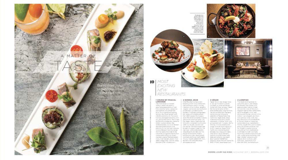 Modern Luxury Magazine - 10 most exciting new restaurants 2017