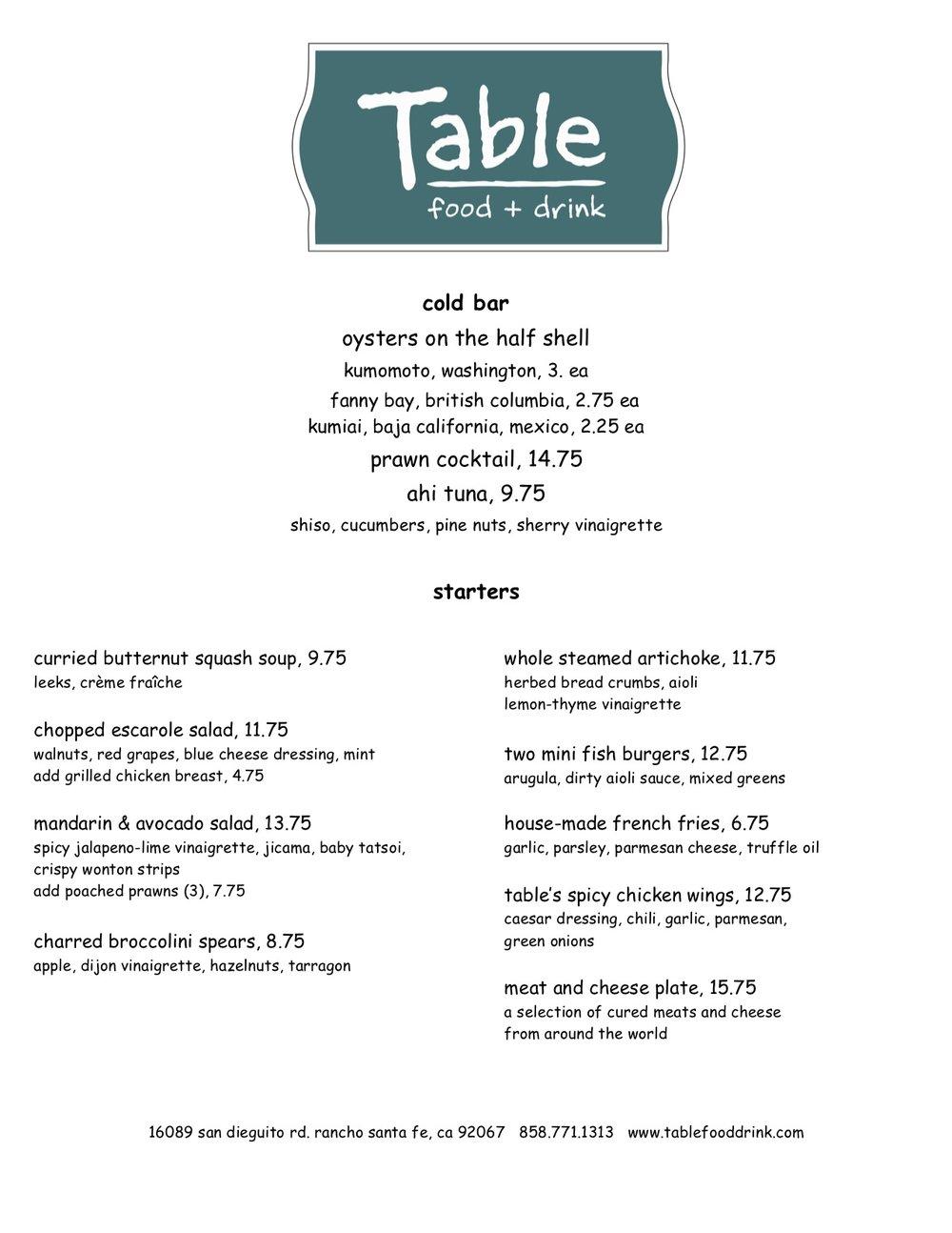 Todays Menu Table Fooddrink - Table 9 menu