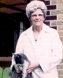 Pauline S. Schneegas with her cat, Boots