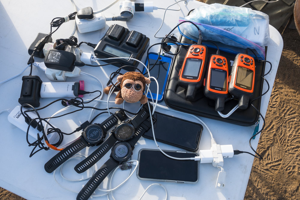 Mr. Monkey is also learning about all the technology used to help the runners stay connect with students at home and to track where they run. Everything gets plugged in with portable power units to help recharge while the runners sleep.