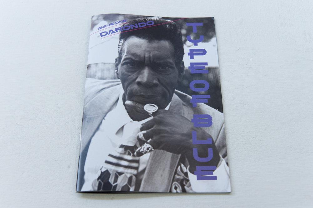 Elizabeth Karp Evans   Type of Blue Issue One: Darondo Staple bound artist book, 8 ½ × 5 ½ in  $15.00