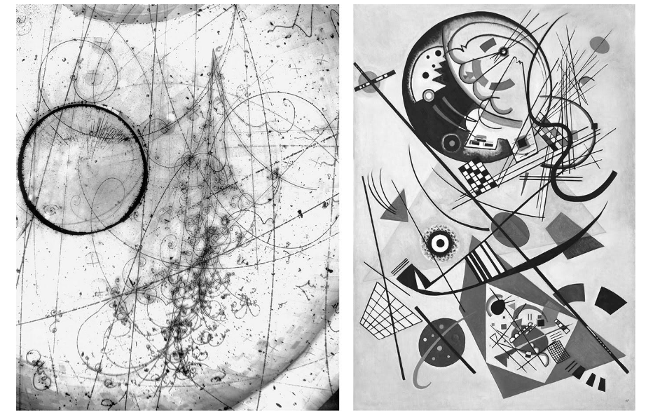 Left.  Cosmic Rays photograph , Fermilab, 1970. Right. Wassily Kandinsky,  Composition VIII , oil on canvas, 1923.