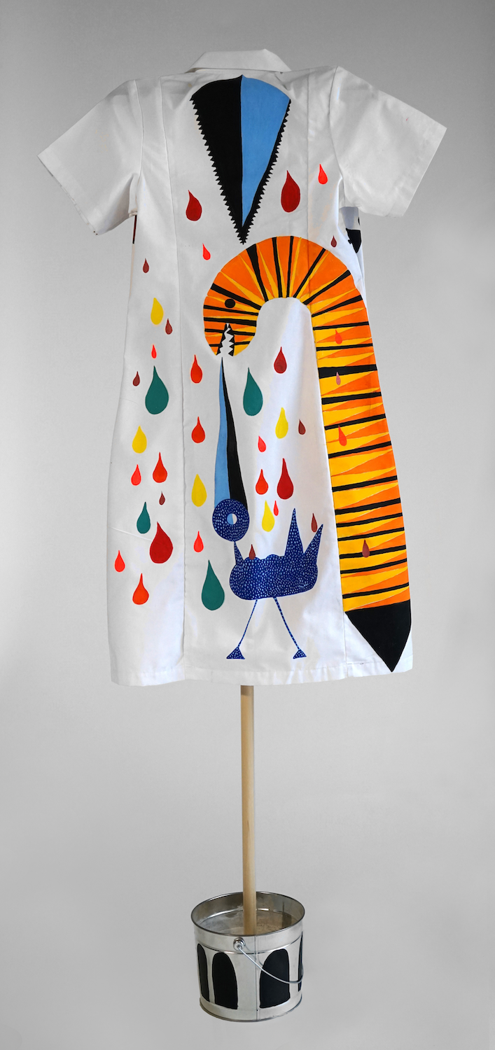 """""""Wish I could eat with them"""", from the Series Early Birds, 2019, Back (Domestic worker's uniform modified- hand painted on fabric)."""