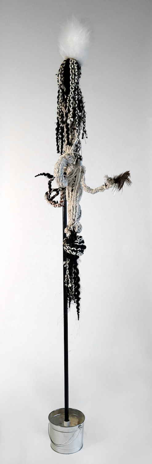 """""""Mop 1"""", from the Series Whips, Whims and Wigs, 2019, Transformed mop head into a hairdo on  decorated stick, various materials."""