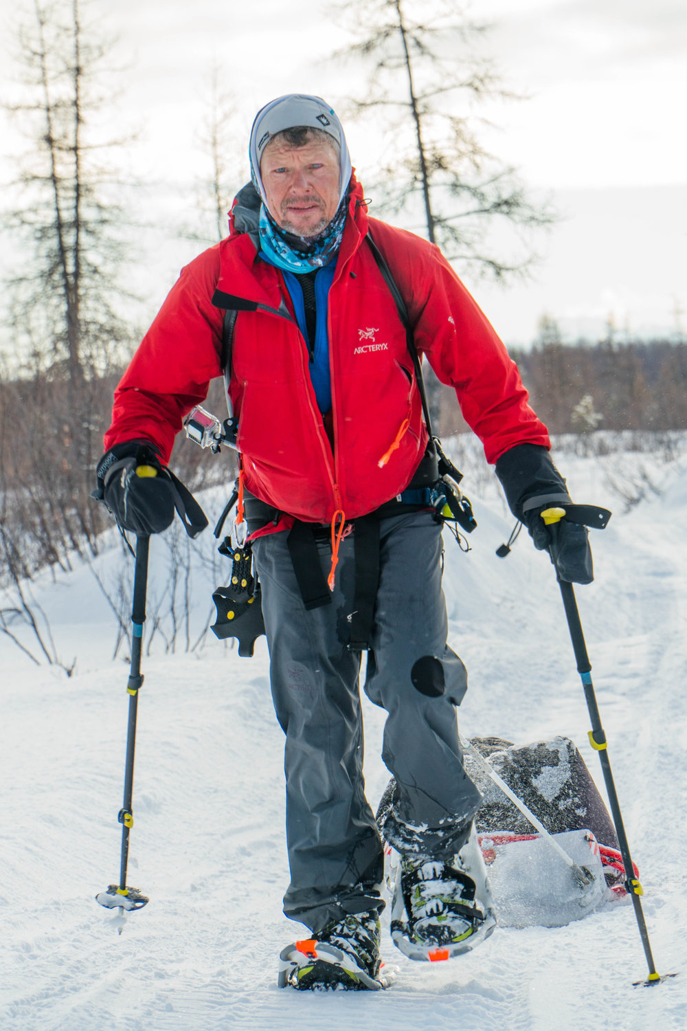 Grant Maughan works his way along a soft trail in snowshoes