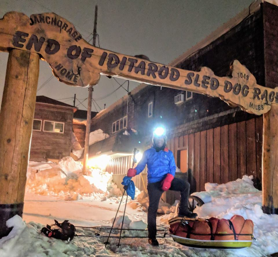 Klaus Schweinberger finishes his journey on foot to Nome