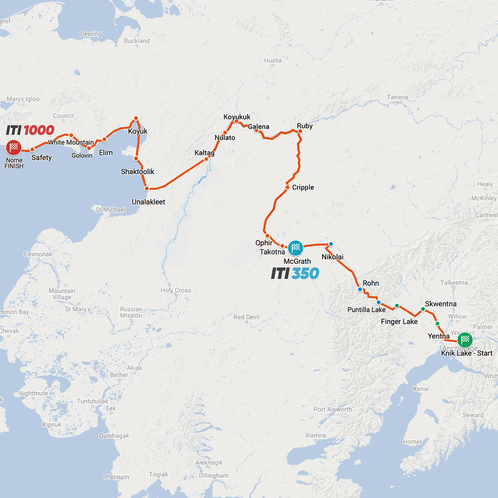 The northern Iditarod Trail route