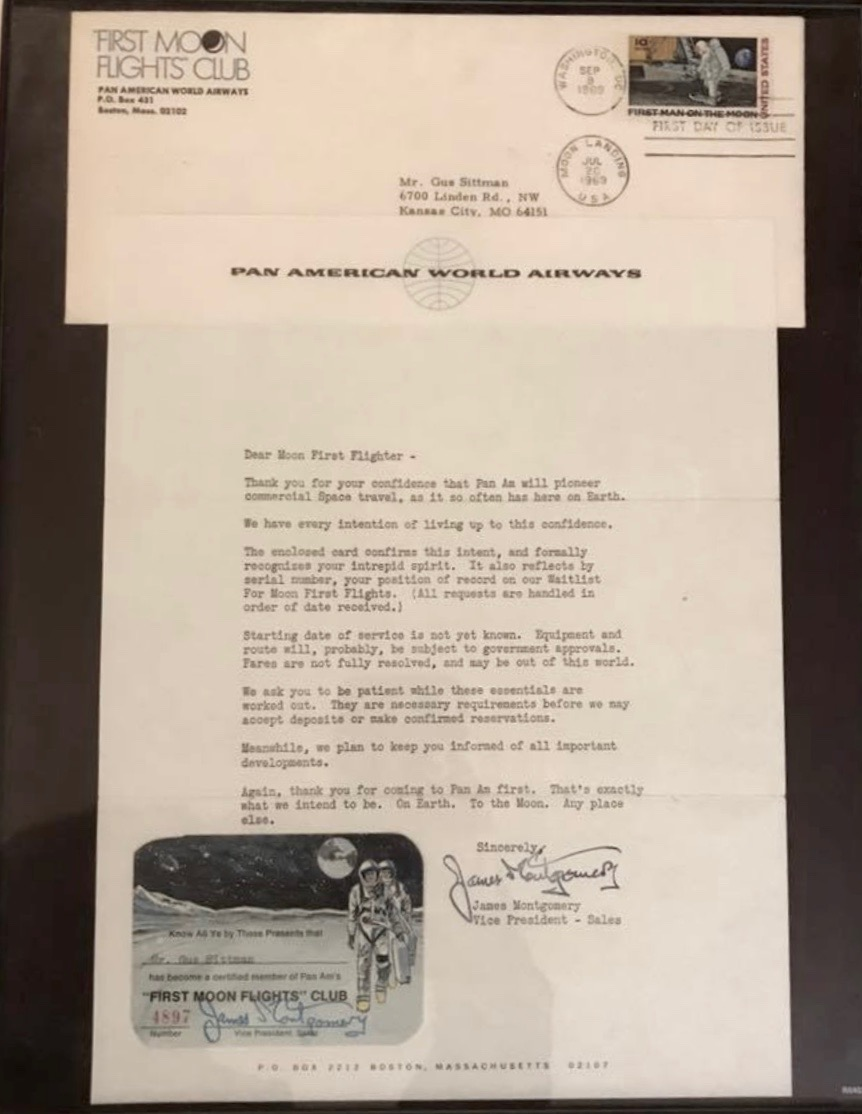 """""""In 1969, when my dad was just 15 years old, Pan AM began marketing the idea that they would one day operate commercial flights to outer space just as they did here on Earth. They sold tickets to reserve your spot in their """"First Moon Flights"""" club. My dad not only reserved his spot, he kept his ticket, along with his official membership letter, in his safe deposit box until the day he died.  Even though Pan AM no longer exists, and my dad never got his seat on his flight to the Moon, it will forever be one of my most treasured possessions. It represents everything I loved about my dad. His passion, his intelligence, his curiosity and his fearlessness.  My resolution for 2018 is to live my life more like him. To continue to explore the things I'm passionate about, to care less about what other people think and to set goals that may seem a little """"out there."""" —Claudia S."""