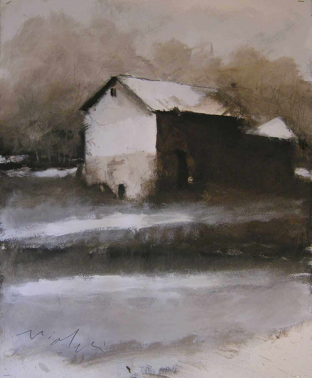 Edge of Frozen Pond,  30 x 22 inches, Oil on Paper