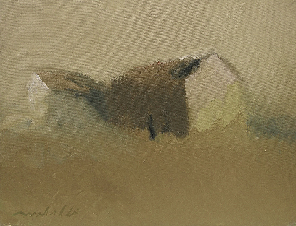 Barn in Ochre Field,  11 x 14 inches, Oil on Canvas