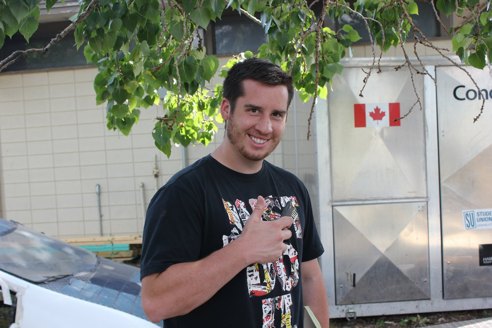 Bridger Solar Team member and Senior Electrical Engineering student Shaun Baumchen posing for photo.