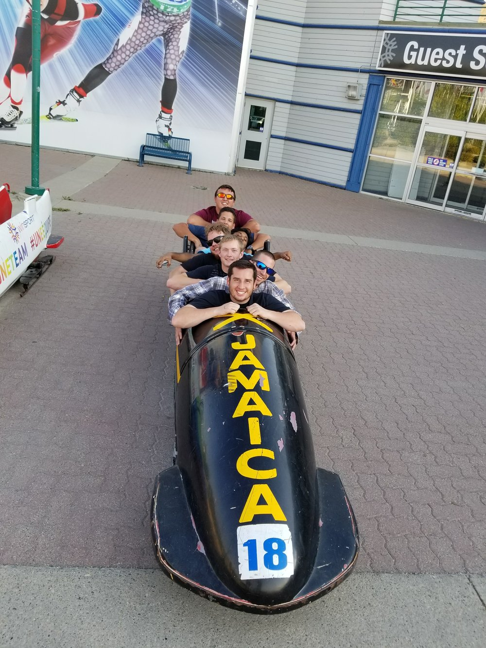 Our team trying to see how many engineering students fit inside of a bobsled.