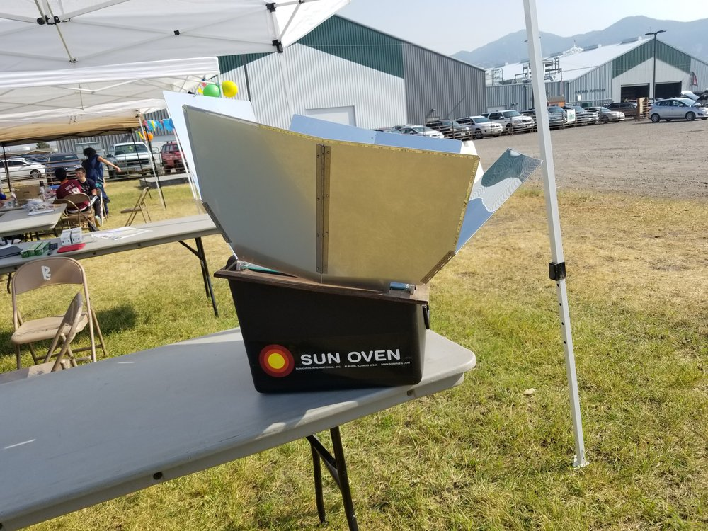 Commercial solar oven on display.