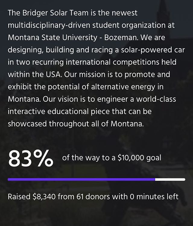 Thank you to all who helped support Bridger Solar Team on Funderbolt! If you did not get the chance to support the team and would like to please check out our website for more information. #solar #funderbolt