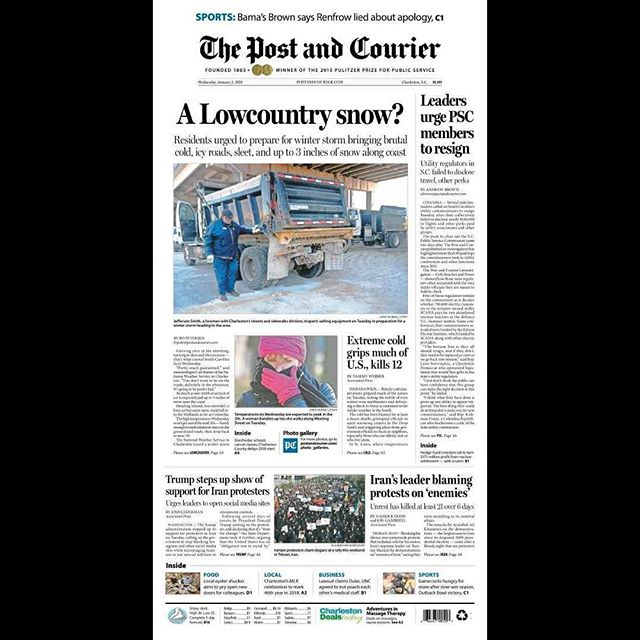Winter Storm Grayson, a progression in three parts via @postandcourier 1A... #howispentmysnowdays #newsdesign #charlestonsc #explorecharleston
